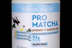 Pro Matcha protein + matcha tea Vanilla Vibrant Health
