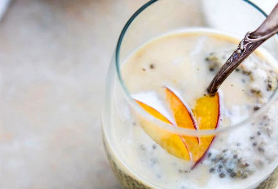 Peaches and Cream Vegan Chia Pudding