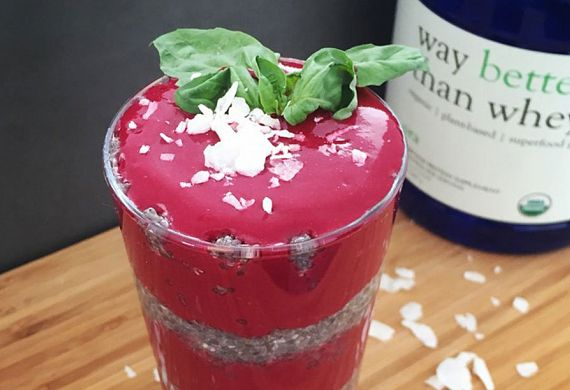 Strawberry, Beet + Basil Protein Smoothie