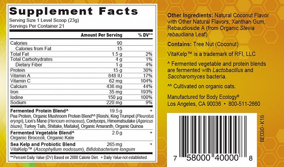 BEFPSCoconut nutrition label