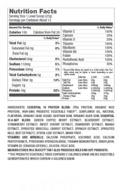 DPE10PVDream nutrition label