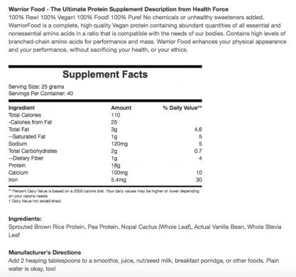 Health Force Warrior Food Vanilla nutrition label
