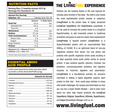 Living Fuel Living Protein nutrition label