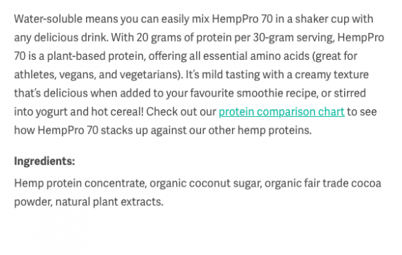 Manitoba Harvest HempPro 70 Chocolate ingredients