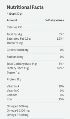 Manitoba Harvest HempPro Fibre nutrition label