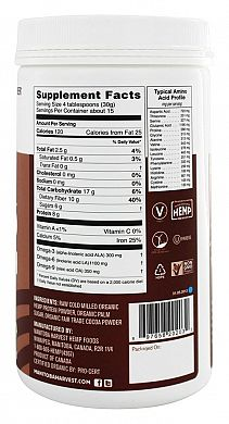 Manitoba Harvest Organic Hemp Protein Chocolate nutrition label