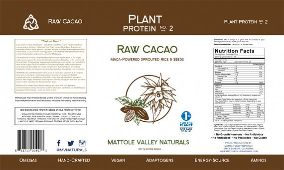 Mattole Valley Naturals Raw Cacao Vegan Protein nutrition label
