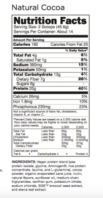 MCT Lean Vegan Protein Blend Natural Cocoa nutrition label