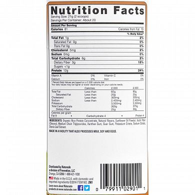 Naturade Brown Rice Protein Vanilla nutrition label