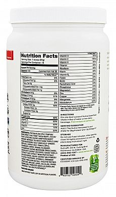 Nutiva Organic Plant Protein Superfood 30 Shake Chocolate nutrition label