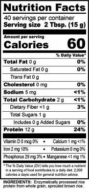 NutriBioticRPPlain Nutrition label