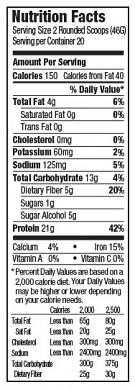 OOPPBPSSVBean Nutrition Label