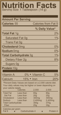 PCMagic nutrition label