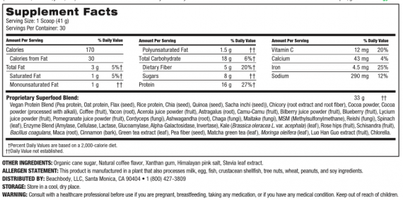 Shakeology Vegan Cafe Latte nutrition label