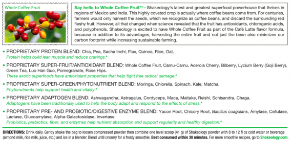 Shakeology Vegan Cafe Latte ingredients 1
