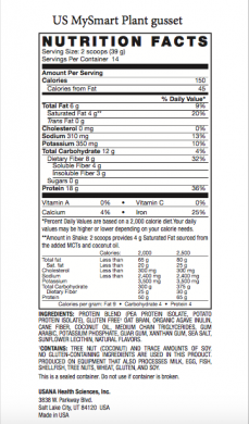 USANA MySmartShake Plant Shake Base nutrition label