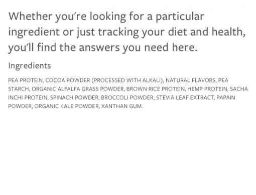 Vega Protein & Greens Chocolate ingredients