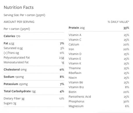 Vega Protein+ Shake Vanilla nutrition label