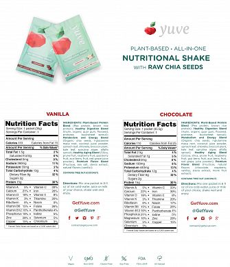 Yuve Plant Based Nutritional Shake Cocoa and Raw Chia Seeds nutrition label
